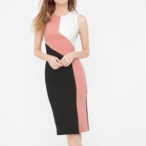 WHBM Petite Diagonal Colorblock Sheath Dress